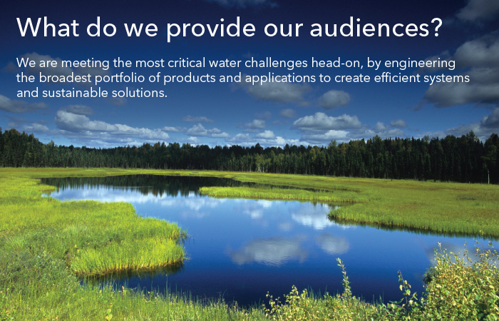 What do we provide our audiences? We are meeting the most critical water challenges head-on, by engineering the broadest portfolio of products and applications to create efficient systems and sustainable solutions.